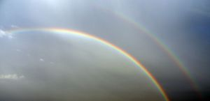 primary and secondary rainbow with Alexander's dark band, ie., double rainbow, people, double rainbow