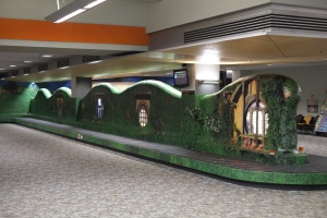 Hobbiton exhibited at an airport. Or was it a train station? Public Hobbiton. The mind wanders...